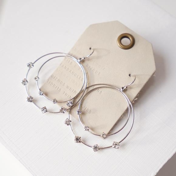 Anthropologie Jewelry - Anthropologie Crystals Hoop Earrings Silver